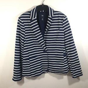{GAP} Women Stripe Knit Blue and White Blazer